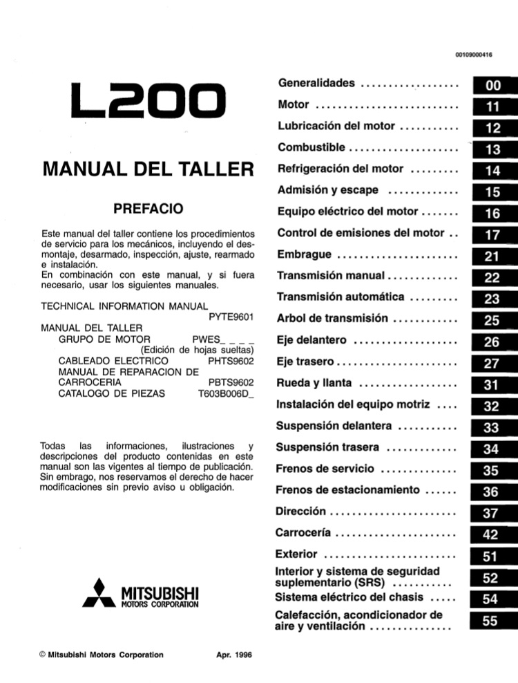 Descargar Manual De Taller Mitsubishi L200 Zofti