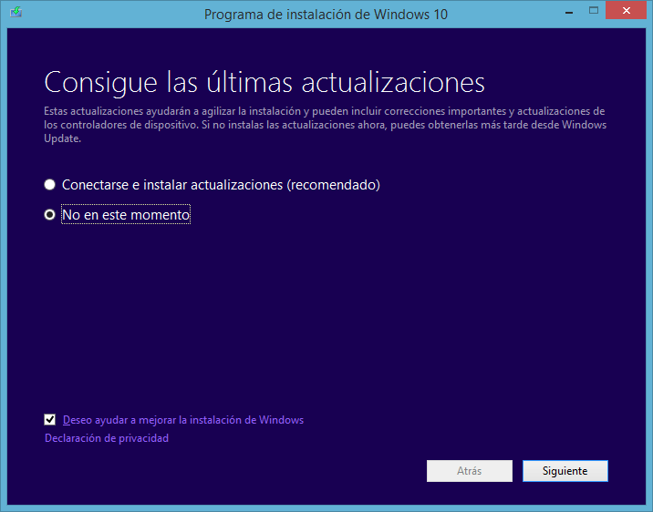 comenzar a instalar windows 10