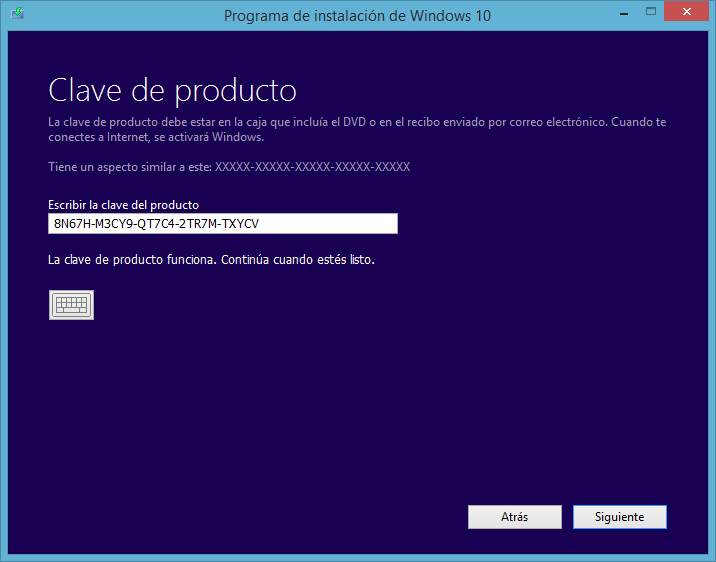 clave de instalación windows 10
