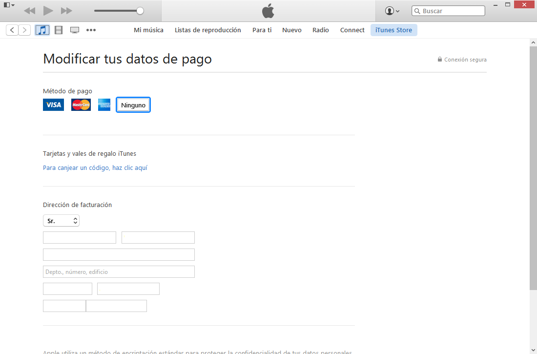 información de pagos para descargar apple music