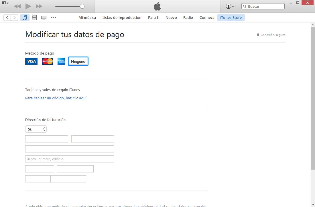 información de pagos para descargar apple music