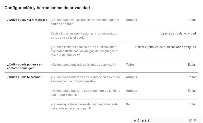 privacidad total en facebook