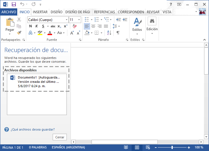 Recupera archivos borrados de Word